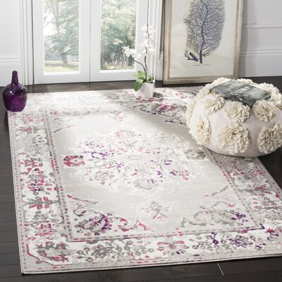 Doty Gray/Pink Area Rug Rug Size: Rectangle 3 x 5