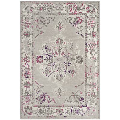 Doty Gray/Pink Area Rug Rug Size: Rectangle 4 x 6
