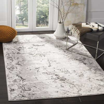 Despain Gray/Ivory Area Rug Rug Size: Rectangle 9 x 12