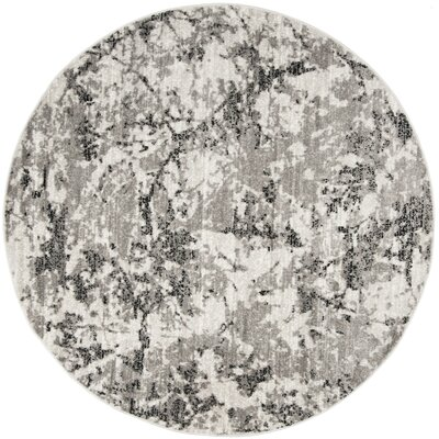Despain Gray/Ivory Area Rug Rug Size: Round 67