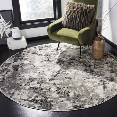 Despain Gray/Ivory Area Rug Rug Size: Round 6'7