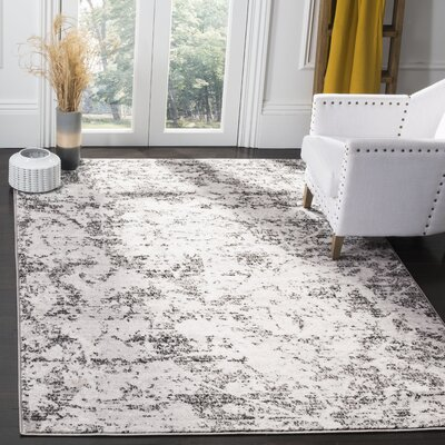 Despain Charcoal/Ivory Area Rug Rug Size: Rectangle 8 x 10