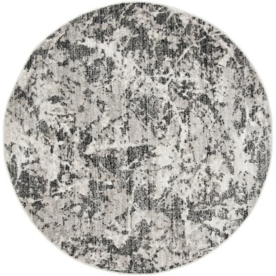 Despain Charcoal/Ivory Area Rug Rug Size: Round 67