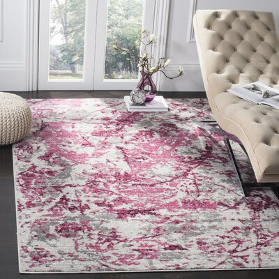Despain Pink/Ivory Area Rug Rug Size: Rectangle 9 x 12