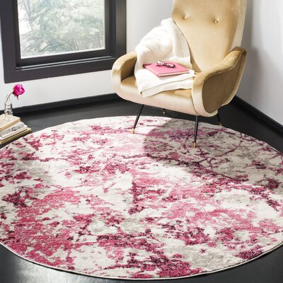 Despain Pink/Ivory Area Rug Rug Size: Round 67