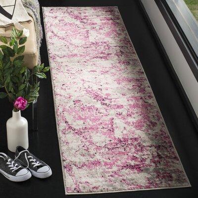Despain Pink/Ivory Area Rug Rug Size: Runner 2 x 8
