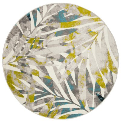 Brill Gray/Green Area Rug Rug Size: Round 67