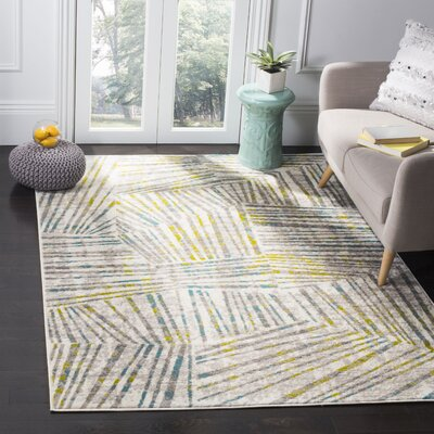 Cosner Gray/Green Area Rug Rug Size: Rectangle 9 x 12