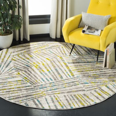 Cosner Gray/Green Area Rug Rug Size: Round 67