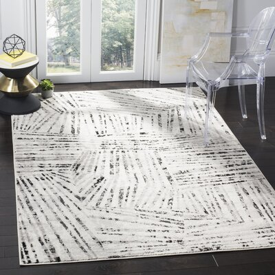 Cosner Gray/Ivory Area Rug Rug Size: Rectangle 51 x 76