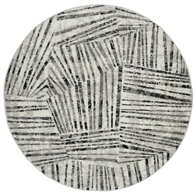 Cosner Gray/Ivory Area Rug Rug Size: Round 67