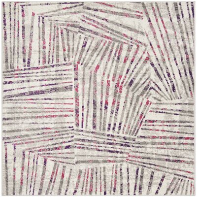 Cosner Gray/Pink Area Rug Rug Size: Square 67