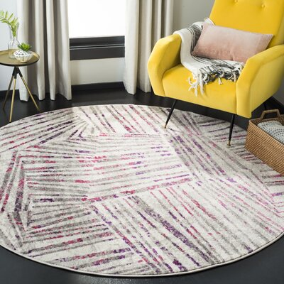 Cosner Gray/Pink Area Rug Rug Size: Round 67