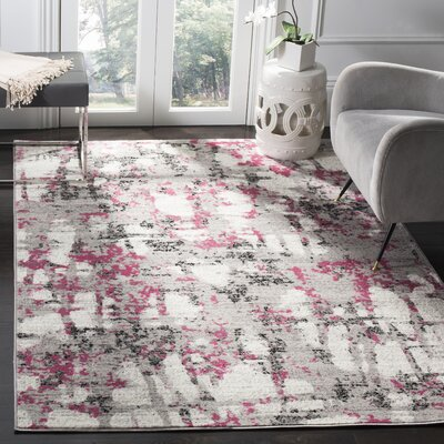 Despain Gray/Pink Area Rug Rug Size: Rectangle 9 x 12