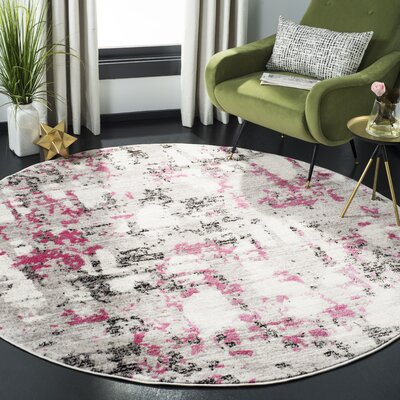 Despain Gray/Pink Area Rug Rug Size: Round 67