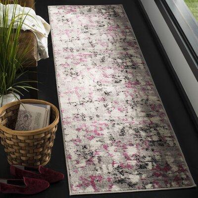 Despain Gray/Pink Area Rug Rug Size: Runner 2 x 8