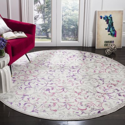 Kingstowne Ivory/Pink Area Rug Rug Size: Round 67