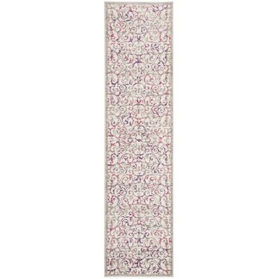 Kingstowne Ivory/Pink Area Rug Rug Size: Runner 2 x 8