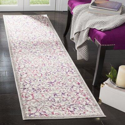 Kingstowne Ivory/Pink Area Rug Rug Size: Runner 2 x 8