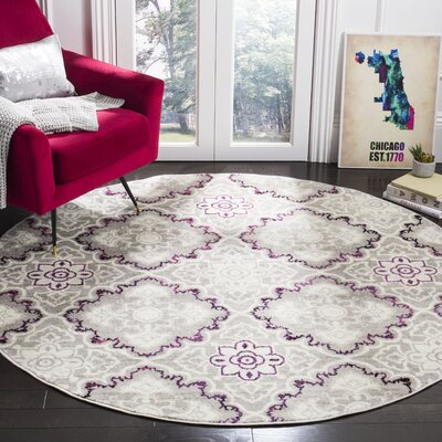 Doty Gray/Pink Area Rug Rug Size: Round 67