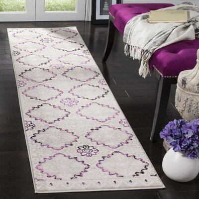 Doty Gray/Pink Area Rug Rug Size: Runner 2 x 8