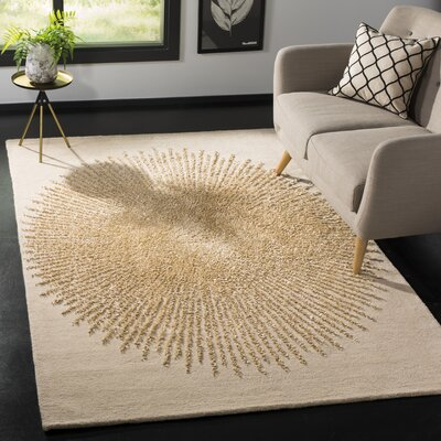 Tess Hand-Tufted Beige/Gold Area Rug Rug Size: Rectangle 6 x 9