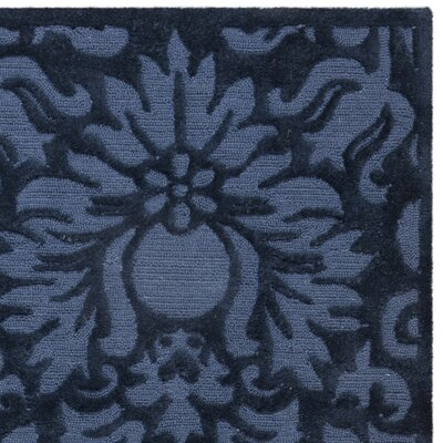 Kingsview Hand-Hooked Blue Area Rug Rug Size: Round 6
