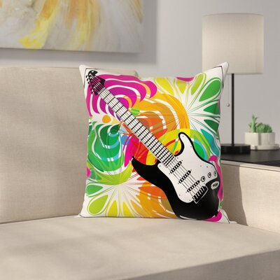 Flowers Guitar Square Pillow Cover Size: 24 x 24