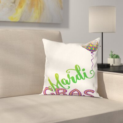 Mardi Gras Cartoon Balloons Square Cushion Pillow Cover Size: 16 x 16