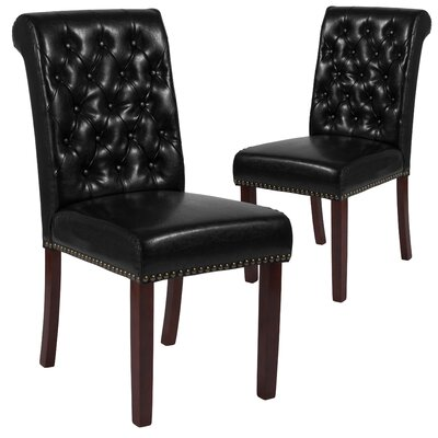 Fransen Upholstered Dining Chair Upholstery Color: Black