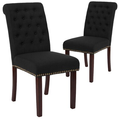 Fransen Upholstered Dining Chair Upholstery Color: Black