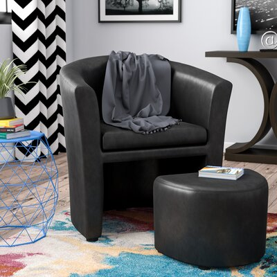 Cordie Barrel Chair and Ottoman Upholstery: Black