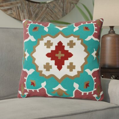 Salguero Kilim Embroidery 100% Cotton Throw Pillow