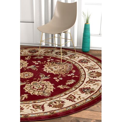 Pickett Red/Beige Area Rug Rug Size: Round 53