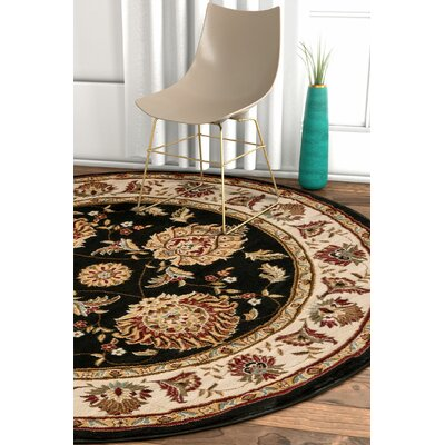Pickett Black/Beige Area Indoor Rug Rug Size: Round 53