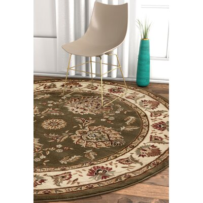 Pickett Green/Beige Area Rug Rug Size: Round 53
