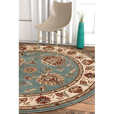 Pickett Light Blue/Beige Area Rug Rug Size: Round 53