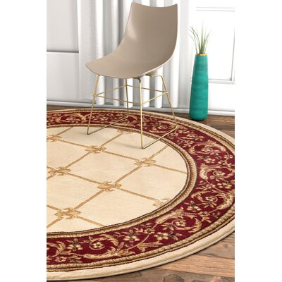 Pickett Ivory/Red Area Rug Rug Size: Round 53