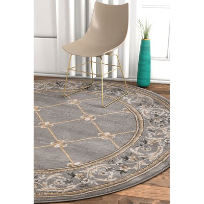 Pickett Gray Area Rug Rug Size: Round 710