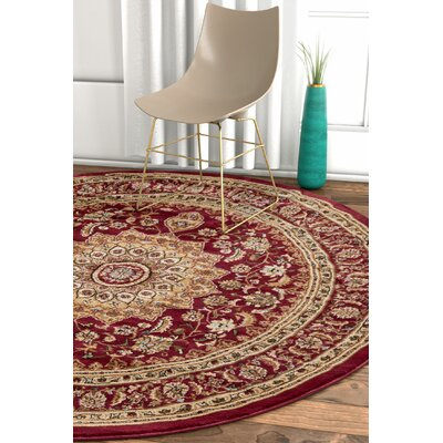 Pickett Red Area Rug Rug Size: Round 5'3