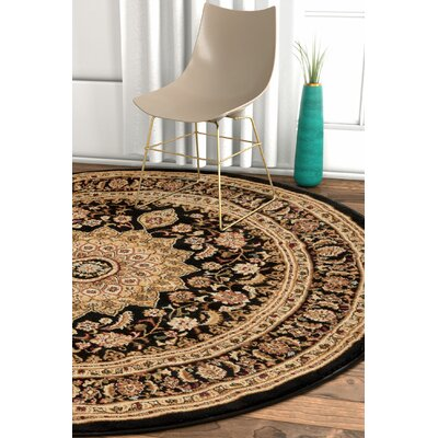 Pickett Black Area Rug Rug Size: Round 53