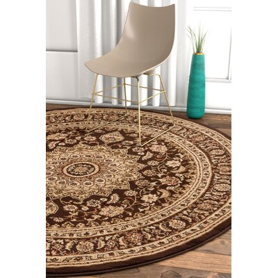 Pickett Brown/Ivory Area Rug Rug Size: Round 53