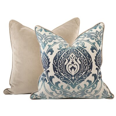 Pickney Damask Throw Pillow Color: Indigo, Size: 24 x 24
