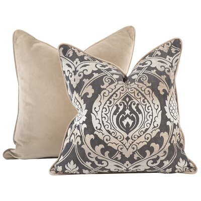 Pickney Damask Throw Pillow Color: Pewter, Size: 24 x 24