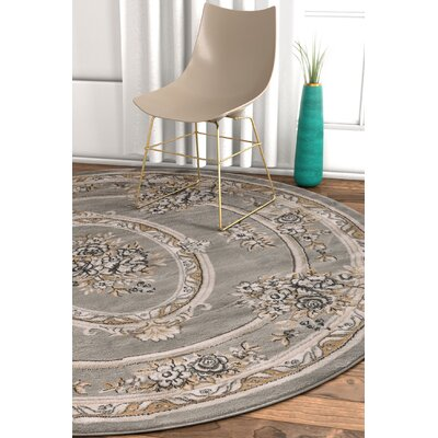 Pickett Gray Area Rug Rug Size: Round 5'3