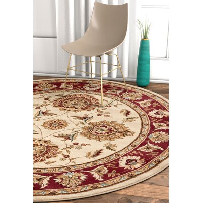 Pickett Ivory/Red Area Rug Rug Size: Round 710