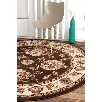Pickett Brown/Beige Area Rug Rug Size: Round 53