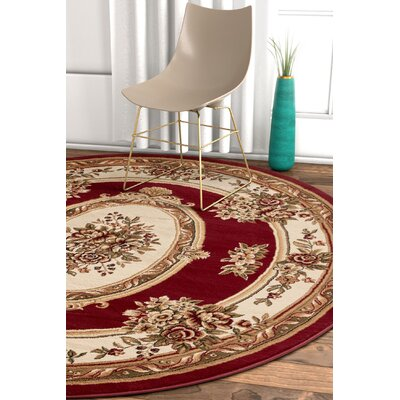 Pickett Red/Ivory Area Rug Rug Size: Round 53