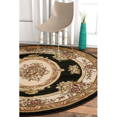 Pickett Black/Ivory Area Rug Rug Size: Round 53