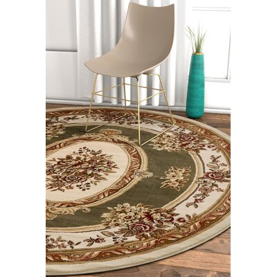 Pickett Green/Ivory Area Rug Rug Size: Round 710